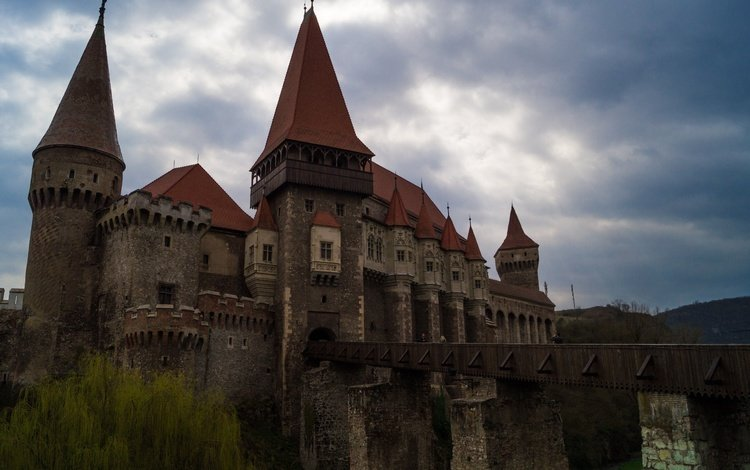 небо, пейзаж, замок, архитектура, румыния, трансильвания, хуньяди, корвин, the sky, landscape, castle, architecture, romania, transylvania, hunyadi, corwin