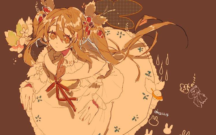 girl, dress, anime