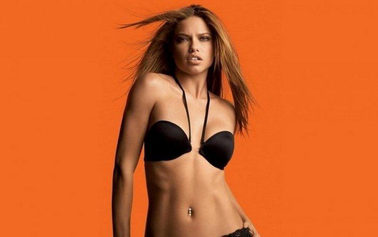девушка, взгляд, грудь, волосы, лифчик, адриана лима, girl, look, chest, hair, bra, adriana lima