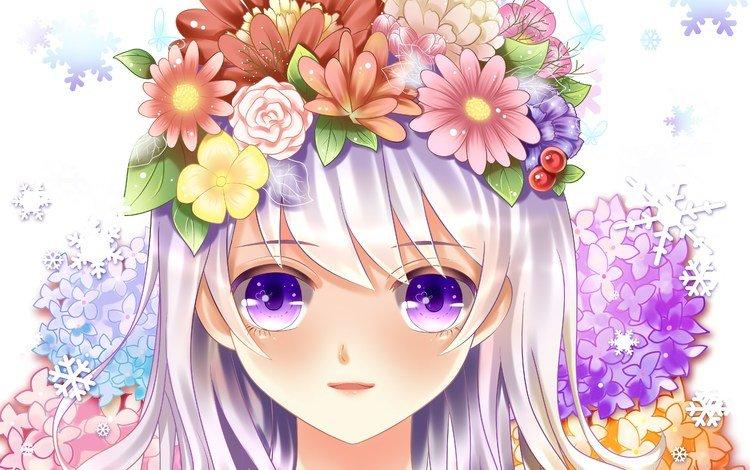 глаза, цветы, девушка, розы, аниме, лицо, eyes, flowers, girl, roses, anime, face