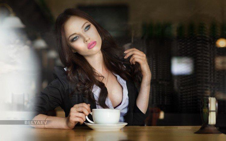 девушка, кофе, модель, чашка, позирует, дмитрий беляев, инна, girl, coffee, model, cup, posing, dmitry belyaev, inna