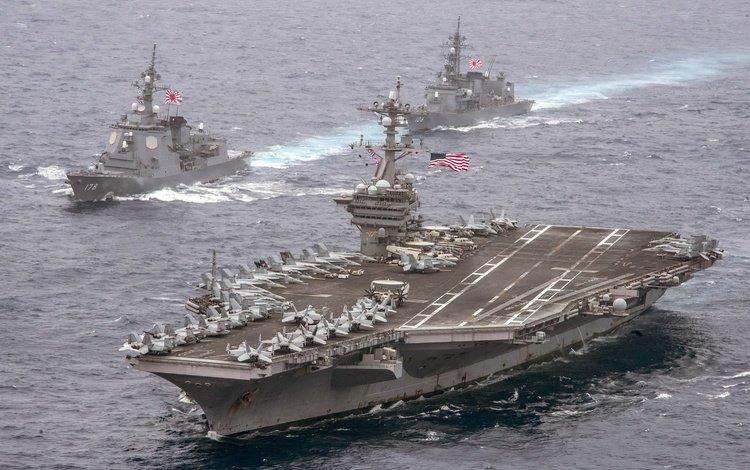авианосец, фрегаты, эскадра, японское море, the carrier, frigates, squadron, the sea of japan
