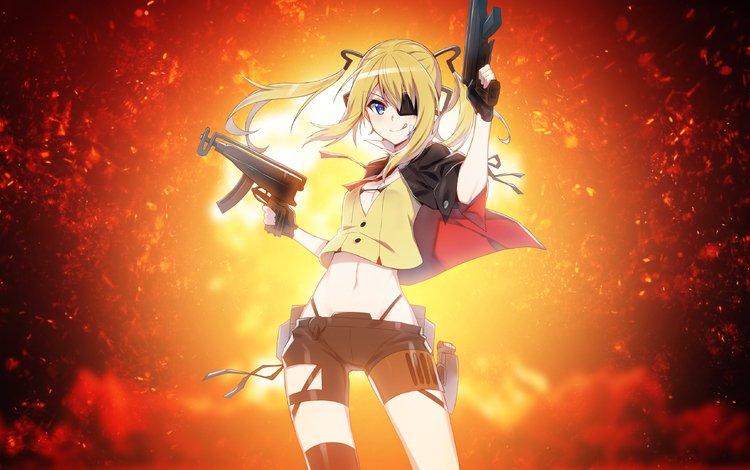 girl, weapons, look, anime, hair, face
