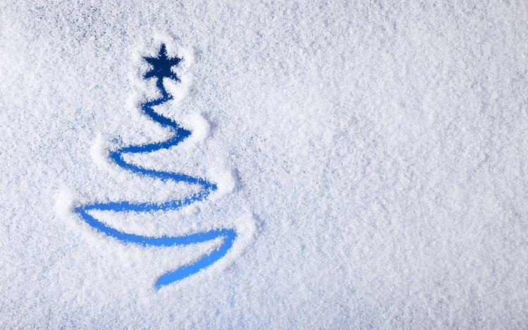 рисунок, снег, елка, фон, рождество, figure, snow, tree, background, christmas