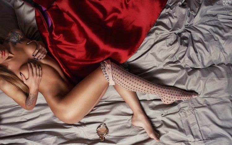 girl, model, legs, beautiful, red dress, bed, ass, figure, ura pechen