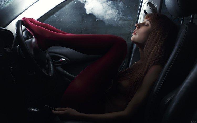 girl, smoke, auto, smokes, stockings, beauty, ura pechen