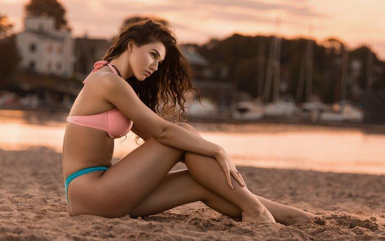 girl, sea, pose, sand, beach, model, bikini, alex love