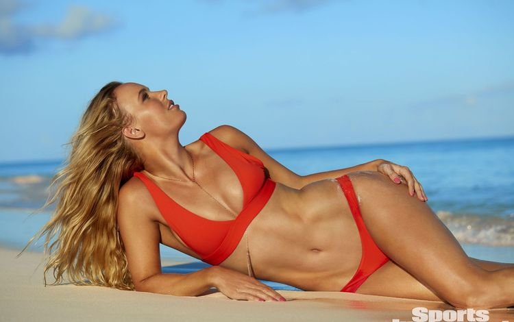 girl, sea, pose, blonde, sand, beach, model, bikini, karolina woźniacka