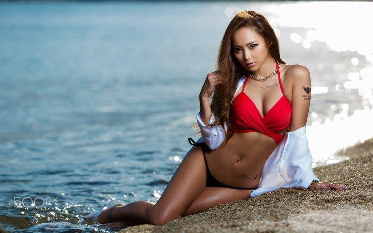 girl, sea, model, tattoo, asian, bikini, belly, water drops, sitting, joe