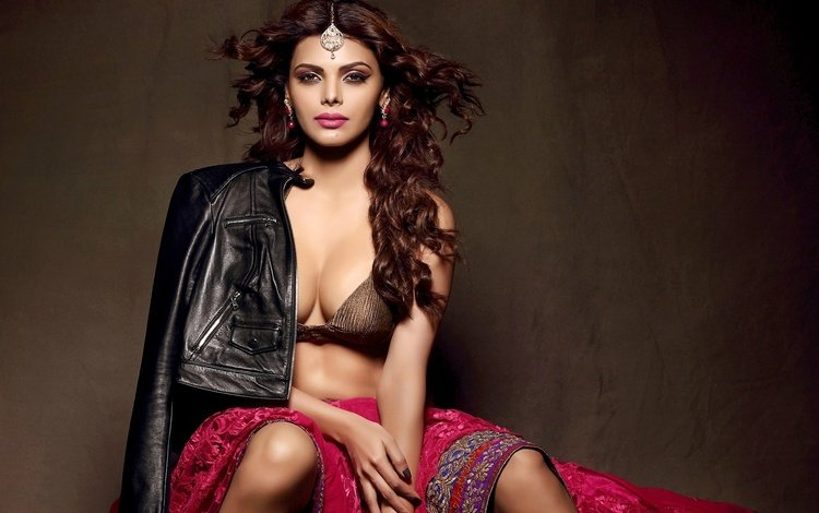 girl, pose, brunette, model, hair, figure, indian, sherlyn chopra