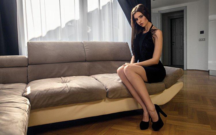 girl, brunette, model, heels, sofa, black dress, kenji's shotbook
