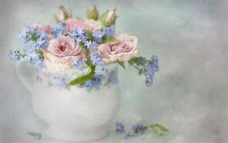 цветы, арт, розы, букет, ваза, незабудки, живопись, pieter wagemans, lizzy pe, flowers, art, roses, bouquet, vase, forget-me-nots, painting