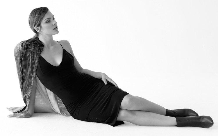 black and white, actress, black dress, katharine mcphee