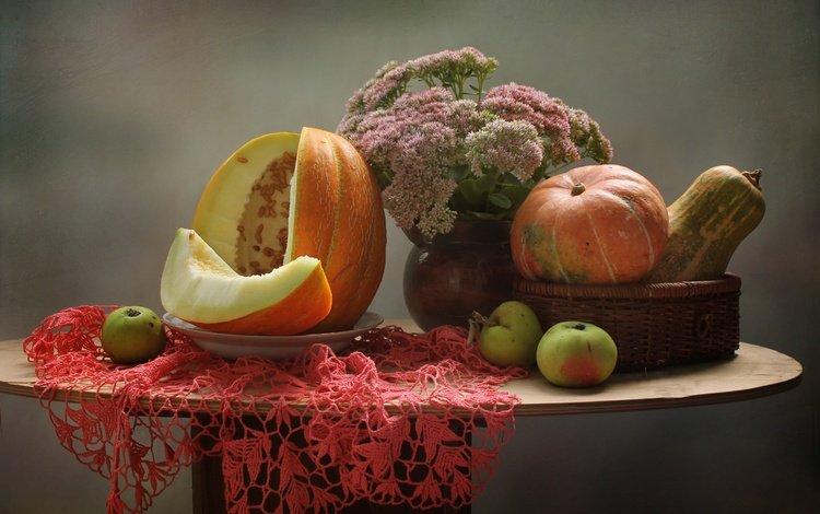 flowers, apples, autumn, napkin, pumpkin, still life, melon, stonecrop