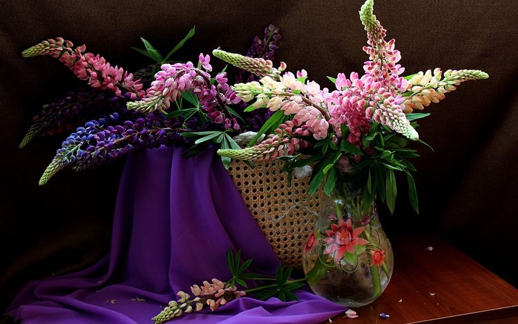 flowers, summer, bouquet, still life, lupins