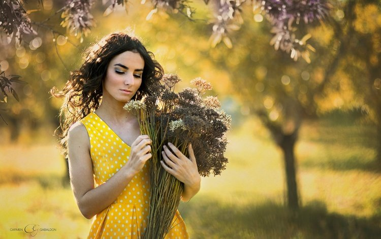 flowers, girl, mood, dress, hair, bouquet, face, bokeh, closed eyes