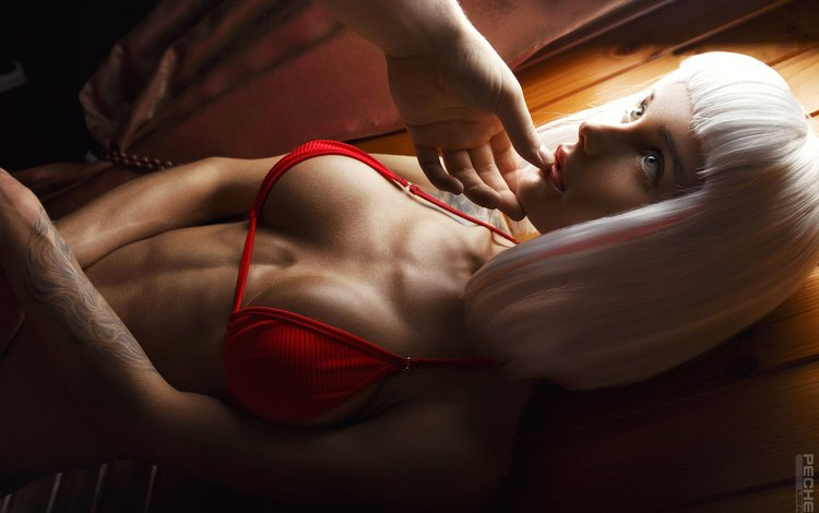 девушка, парик, поза, секси, взгляд, белье, модель, спортивная, комната, ura pechen, тату, грудь, фотограф, girl, wig, pose, sexy, look, linen, model, sports, room, tattoo, chest, photographer