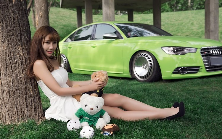 дерево, ауди, девушка, взгляд, медведь, игрушка, авто, сидит, азиатка, tree, audi, girl, look, bear, toy, auto, sitting, asian