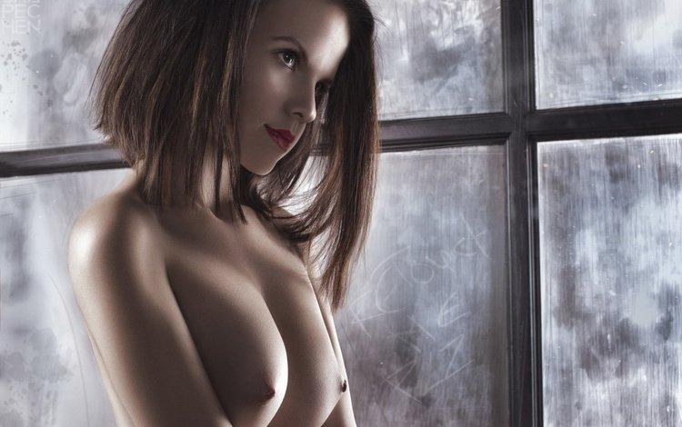 девушка, взгляд, модель, грудь, окно, шатенка, ura pechen, girl, look, model, chest, window, brown hair