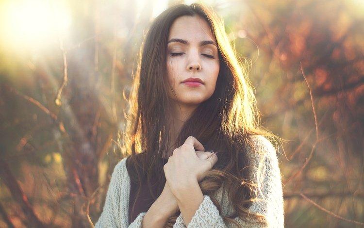 forest, girl, mood, portrait, brunette, autumn, closed eyes, long-haired
