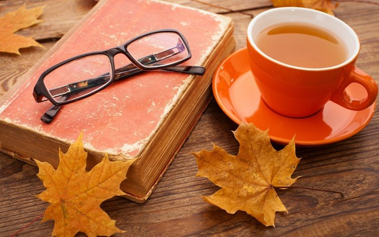 leaves, mood, autumn, glasses, cup, tea, book