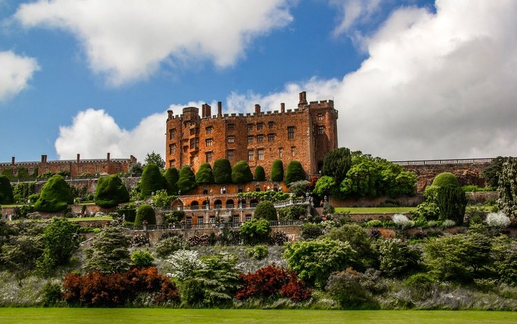 the sky, flowers, clouds, trees, design, the bushes, castle, garden, england, lawn, hill, powis castle