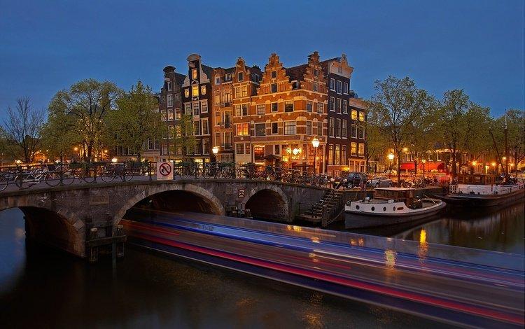ночь, огни, мост, канал, дома, нидерланды, амстердам, night, lights, bridge, channel, home, netherlands, amsterdam