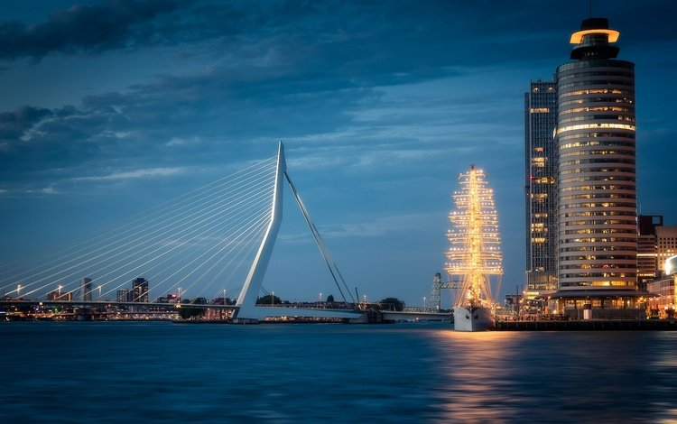lights, bridge, ship, the city, skyscrapers, house, support, netherlands, harbour, rotterdam