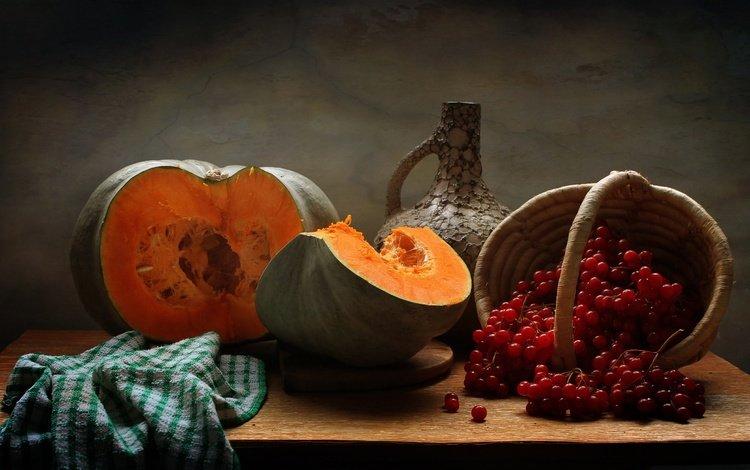 осень, кувшин, тыква, натюрморт, калина, autumn, pitcher, pumpkin, still life, kalina