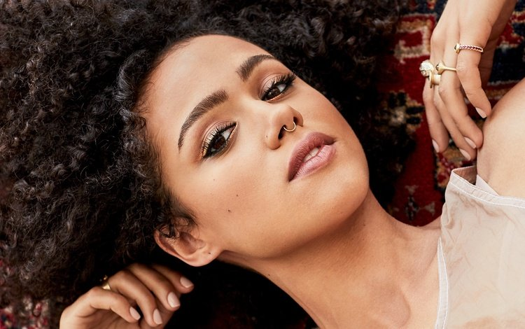 girl, portrait, look, hair, face, actress, nathalie emmanuel