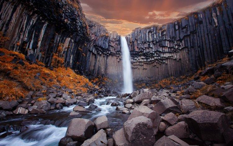 река, горы, скалы, камни, водопад, river, mountains, rocks, stones, waterfall