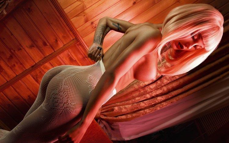 девушка, фотограф, поза, парик, взгляд, секси, модель, белье, сетка, спортивная, тату, ura pechen, грудь, чулки, girl, photographer, pose, wig, look, sexy, model, linen, mesh, sports, tattoo, chest, stockings