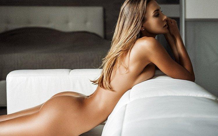 girl, pose, sadness, ass, sofa, naked, dream
