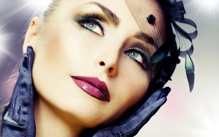 глаза, вуаль, взгляд, модель, губы, лицо, макияж, помада, перчатки, eyes, veil, look, model, lips, face, makeup, lipstick, gloves