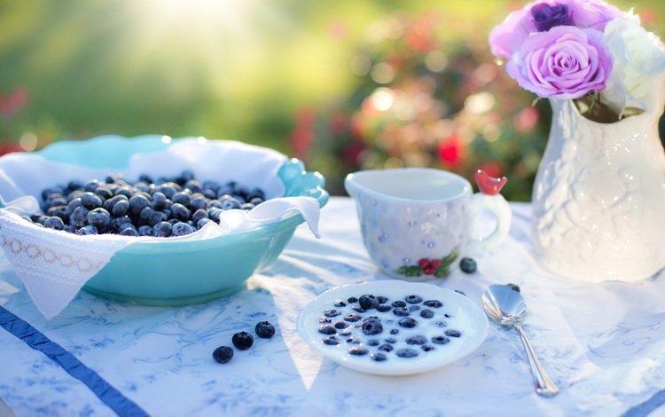 berries, blueberries, dishes, milk