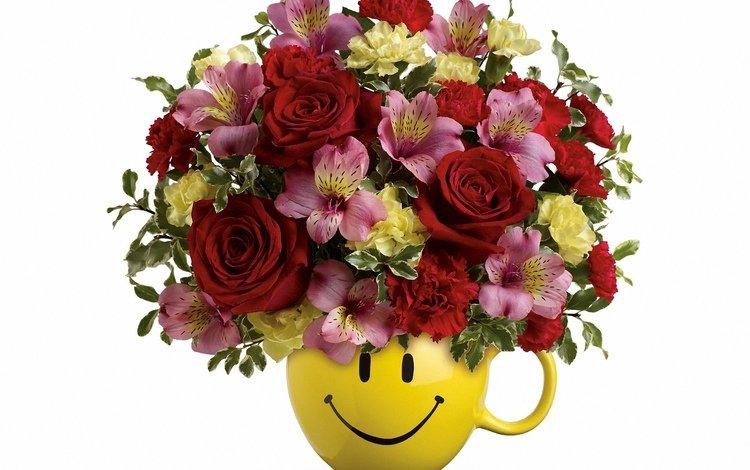 цветы, букет, горшок, flowers, bouquet, pot