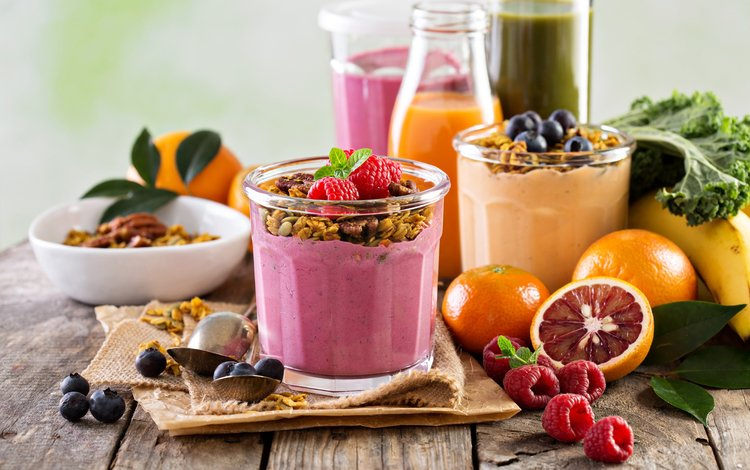 drink, raspberry, fruit, berries, banana, cereal, smoothies, smoothies with yogurt