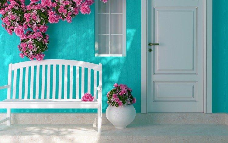 interer-cvety-rozy-lavochka