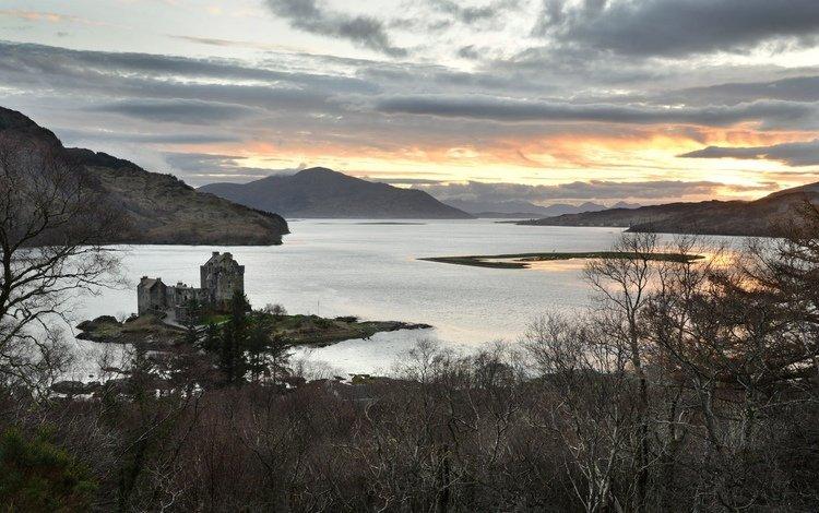 lake, mountains, castle, scotland, leinonen