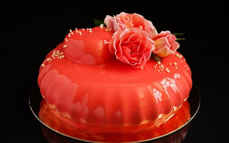 розы, комната, торт, тортик, roses, room, cake