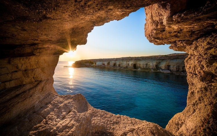 rocks, the sun, sea, cyprus