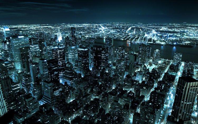 ночь, огни, город, сша, нью-йорк, night, lights, the city, usa, new york