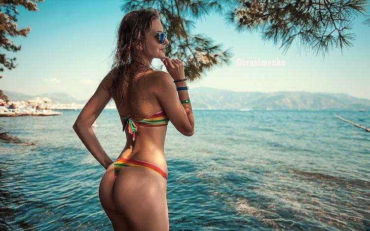 girl, sea, beach, glasses, ass, model, bikini, brown hair, wet hair
