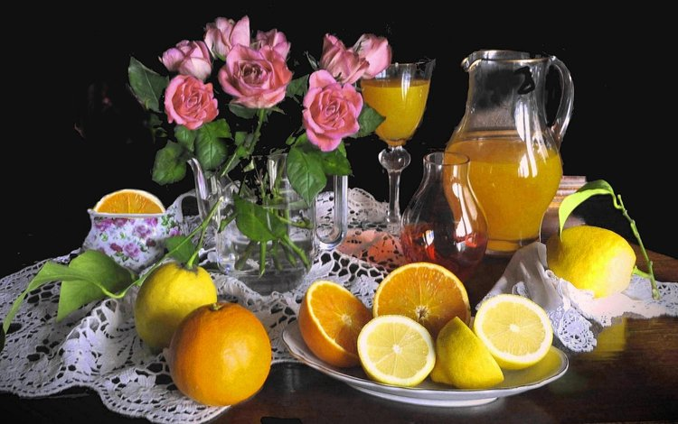 flowers, roses, fruit, oranges, black background, napkin, pitcher, still life, lemons, citrus, juice