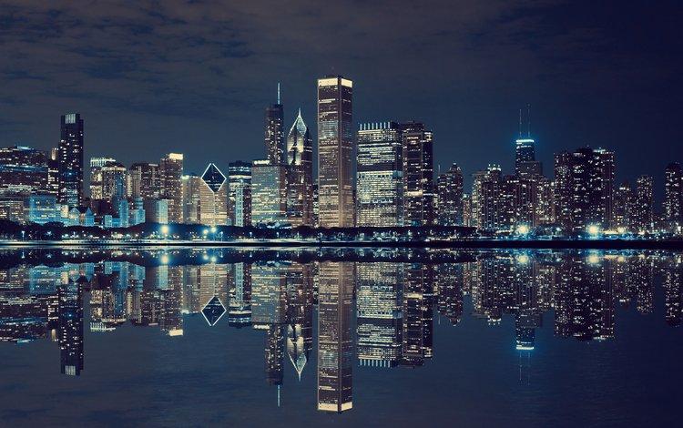 ночь, огни, отражение, город, сша, нью-йорк, night, lights, reflection, the city, usa, new york