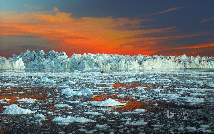 небо, ледниковый фьорд илулиссат, пейзаж, море, лёд, айсберг, океан, зарево, льды, гренландия, greenland, the sky, ilulissat ice fjord, landscape, sea, ice, iceberg, the ocean, glow