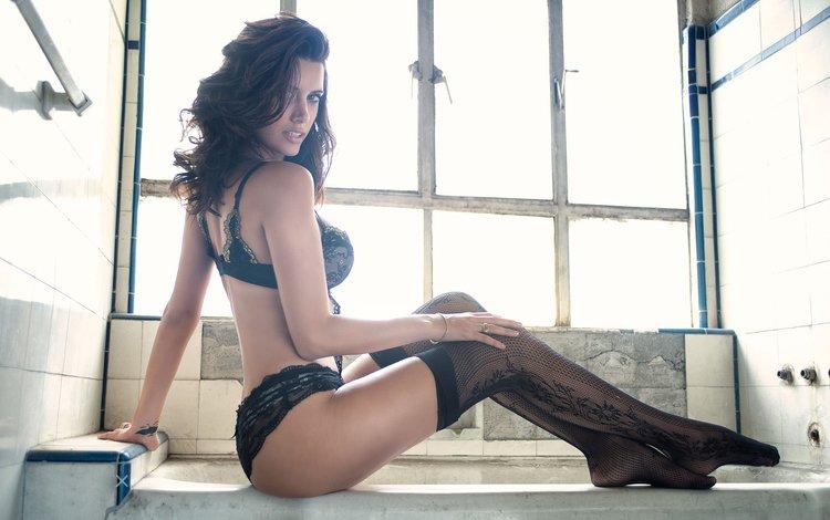 girl, brunette, model, legs, stockings, photoshoot, long hair, black lingerie, sitting