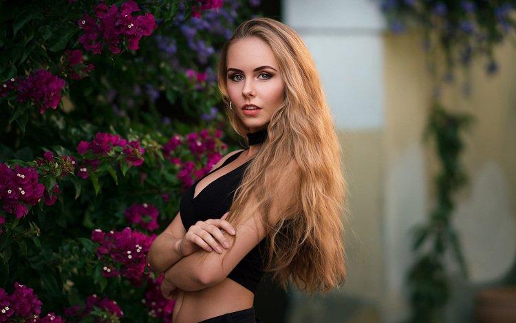 flowers, girl, blonde, look, model, bush, makeup, long hair, jasmine, robert chrenka