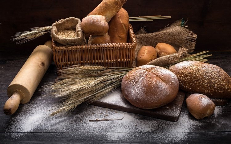 ears, bread, wheat, cakes, basket, grain, buns, flour, rolling pin