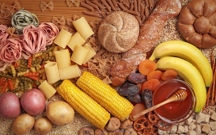 bow, corn, honey, bananas, pasta, dried fruits